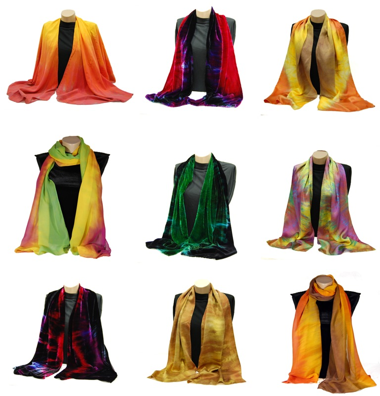 9 of my hand dyed silk scarves