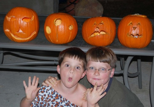 My boys are growing up - Liam carved his pumpkin totally by himself, and Logan managed with little help from me!
