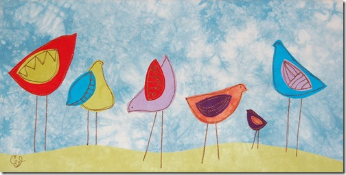 "6  little birds - 10"" x 20"""