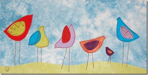 """6  little birds - 10"""" x 20"""""""